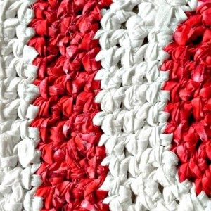 Hand Crocheted Polygon Rag Rug in Red, Pink & White - Reversible