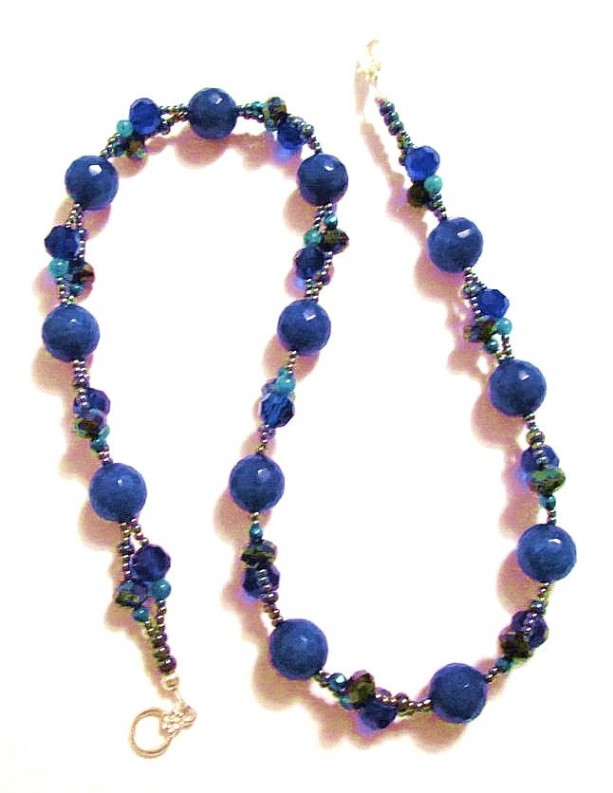 Imperial Blue Jade Beaded Necklace, Hematite Necklace, Gemstone Necklace, Mothers Day Gift, Something Blue, Jade Beads, Jewelry on Sale