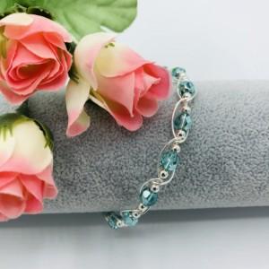 Silver and Aqua Crystal Bracelet
