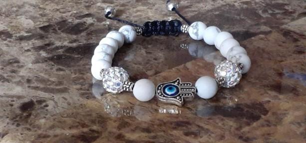 White Howlite Positive Energy Bracelet Hamsa Hand and Evil Eye Adjustable Bracelet