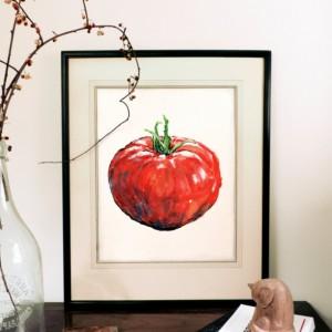 8x10 Tomato Print, Food Art, Food Illustration, Wall Art, Kitchen Art, Kitchen Decor, Kitchen Print, Food Print, Red Art, Vegetable, Tomato Paint