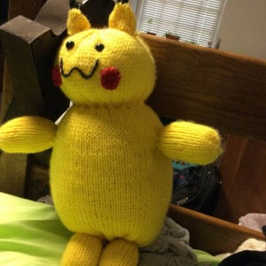 Knitted Pikachu plush