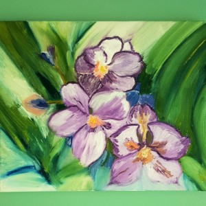 Oil Painting on Canvas-Original Artwork-Floral Art-Blue Purple Green Pansies Painting-11x14- Botanical-Sarah Floyd