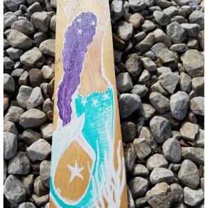 Purple hair aqua tail Mermaid on Cedar Panel 18 x 5 inches Mermaid Beach House Decor, Bathroom Decor