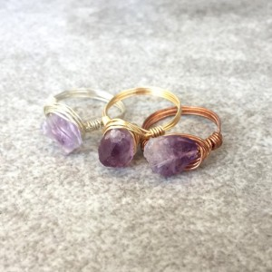 Raw Amethyst Wire Wrapped Ring in Copper, Gold, or Silver