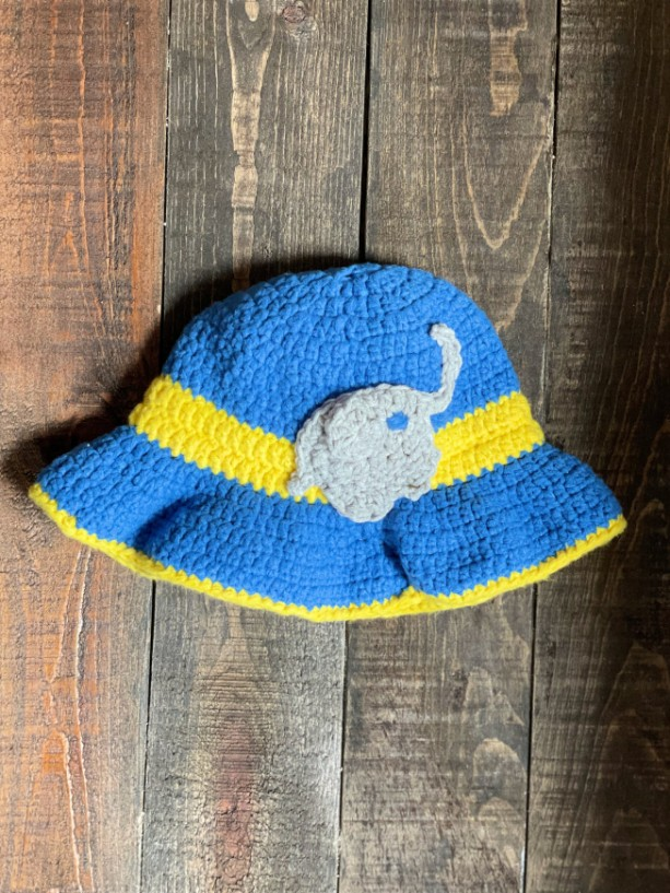 Handmade toddler summer sunhat with baby elephant