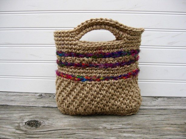 Natural Jute and Sari Silk Purse/Handbag - Handmade in the USA by Twisted Blossom Design