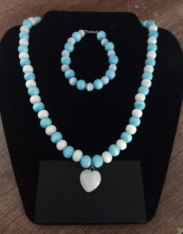 Blue and White Shimmer Necklace