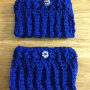 Crochet Boot Cuffs/Blue