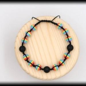 Matte Black Onyx Pride Macrame Bracelet for Support