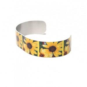 Photo cuff bracelet, aluminum, Funky Dizzy Daisy