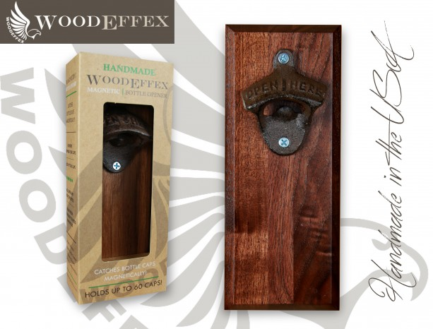 Bottle Opener Magnetic Cap Catcher - Handcrafted Walnut Wood with Antique Bronze Opener