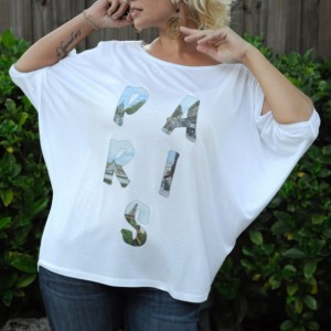 Handmade printed tee, t-shirt, top, Paris photo word with cold shoulder cutouts and boat neck