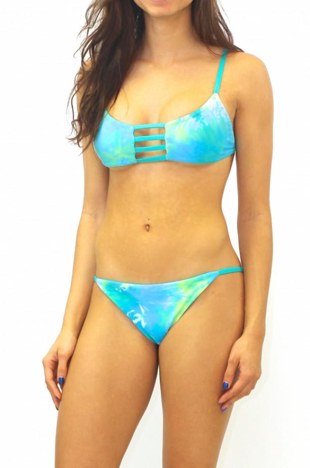 Reversible Jade Green Tie Dye Strappy Bikini Top