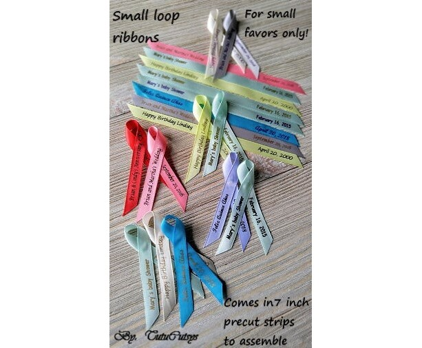 """10 Mini Personalized Ribbons for any event 3/8"""" wide (unassembled)"""