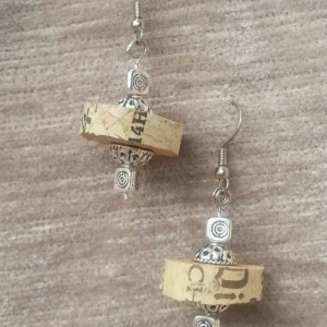 Forget Me Not Cork & Solver Earings