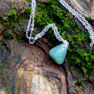 Adventurine Gemstone Necklace, Chakra stones, Reiki, Yoga Jewelry. Ooak