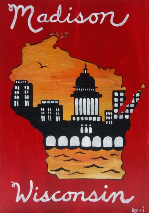 """Madison, Wisconsin 3"" original painting"