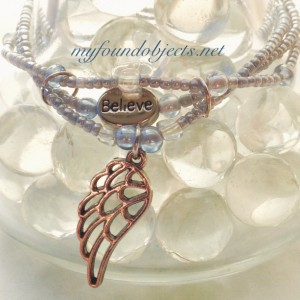 Beaded Stacking Bracelets, Believe Angel Wing