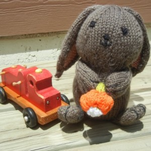 Handmade Bunny,  Knitted Rabbit, Stuffed Bunny, Gift for Easter, Easter Bunny,  Bunny With Flower, Ready to Ship