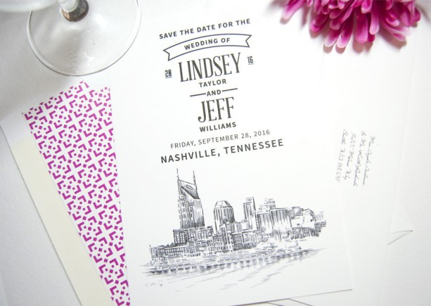 Nashville Water View Skyline Wedding Save the Date Cards (set of 25 cards)