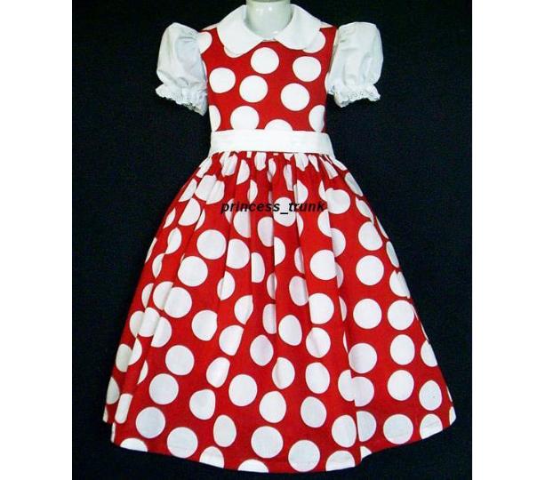 NEW Disney Minnie Mouse Red Dots Jumper Dress Custom Sz 12M-14Yrs