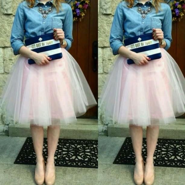 Pink layered midi very full tutu tulle skirt