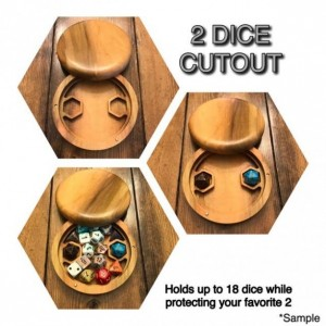 Circular Walnut Wood Polyhedral Dice Box for Dungeons and Dragons (DnD) or Pathfinder RPGs