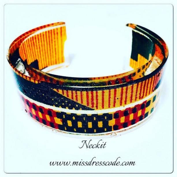 African Kente Print Fabric in Resin Cuff Bangle