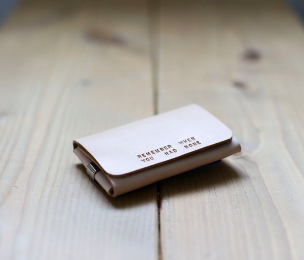 Wallet with Money Clip, Minimalist Wallet, Mens Leather Wallet, Trifold Wallet, Mens Anniversary Gift (Raw Color)