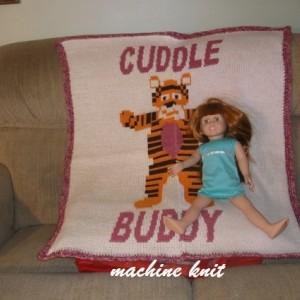 Machine knitted newborn blanket