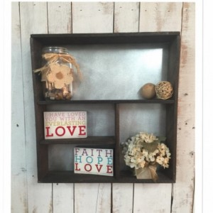 Rustic Shadow box, Shadow box,  rustic home decor, wall shelf, bathroom shelf, christmas gift, metal and wood shelf, living room shelf