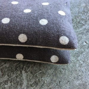 Organic Lavender Sachet Set in Steel Grey Linen Polka Dots Set of 2