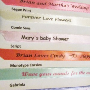 10 Personalized Ribbons with burgundy ink 3/8 inches wide (unassembled)