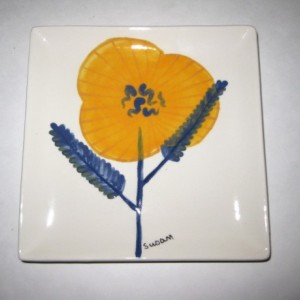 Haand painted Pansy on black and white stripe sandwich or salad plate