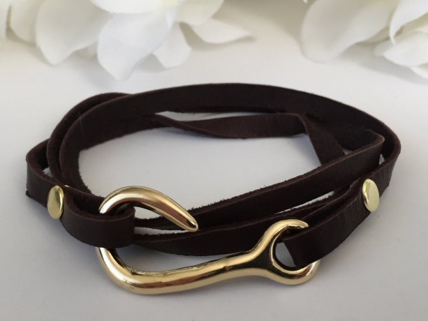 Triple Wrap Brown Leather Fish Hook Bracelet