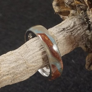 Size 7 Stainless Steel ring with burl wood and silvery grey resin make this a great looking ring. 5mm wide