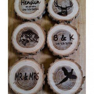 Custom Engraved Log Hardwood Drink Coaster Se of (6)