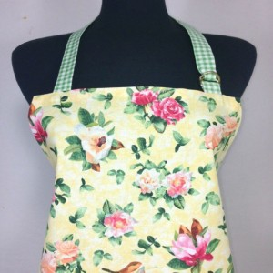 Flower Print Apron for Women, Roses and Magnolias on Yellow with Green Check Ruffle, Retro Kitchen Decor