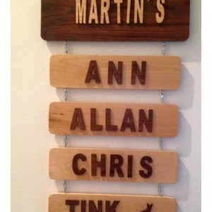 Personalized Handmade Hanging Family Names Wood Sign