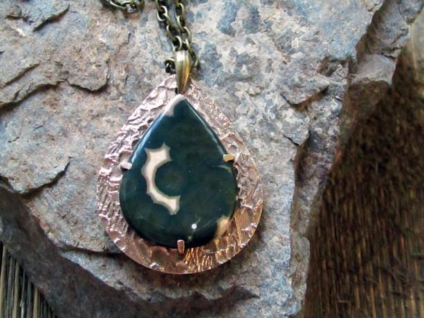 Pendulum Shaped Bronze Metal Clay Pendant With Ocean Jasper