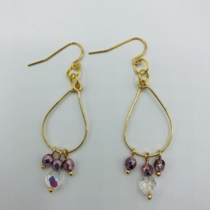 Gold and Crystal Hooped Earrings