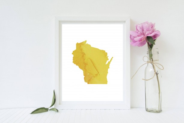 Watercolor Wisconsin Print (Multiple Colors) - 8x10