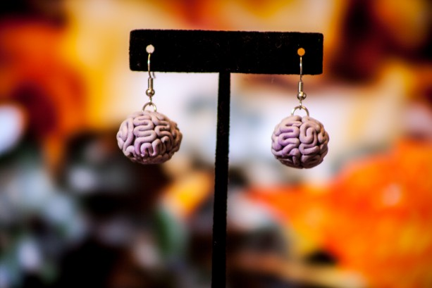 Lavender Brain dangle earrings