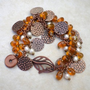 Dimpled Jungle copper, freshwater pearl, hand-blown glass and leaf toggle Bracelet