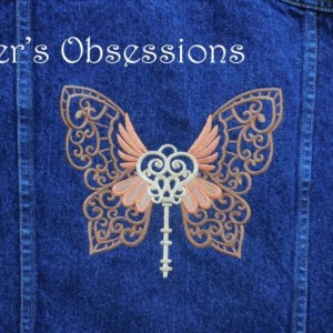 Women's Denim Jacket with Embroidered Steampunk Butterfly Wing