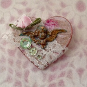 For the Love of the Craft Mixed Media Lace Angel Heart Brooch