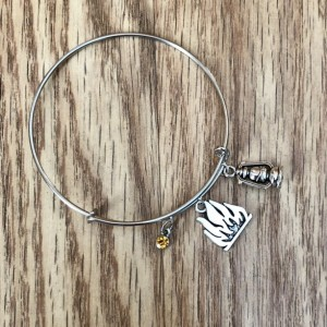Camping Inspired Oil Lamp and Bonfire Bangle Charm Bracelet - Charm Jewelry - Gift for Her - Campfire Party