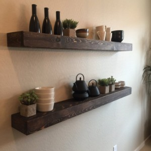 "Set of 2 - Large Rustic Style Floating Shelves - 60""L x 7""D - Custom Finish Avail- Hand Made"
