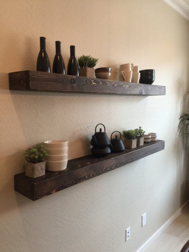 Set Of 2 Large Rustic Style Floating Shelves 60 Quot L X 7
